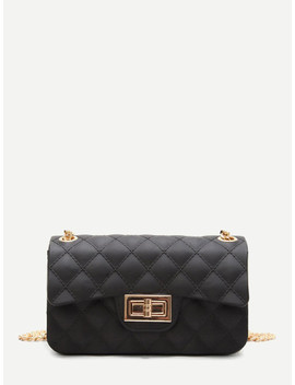 Twist Lock Quilted Chain Bag by Shein