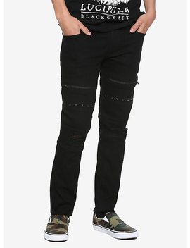 Black Craft Black Pyramid Stud & Zipper Skinny Jeans by Hot Topic