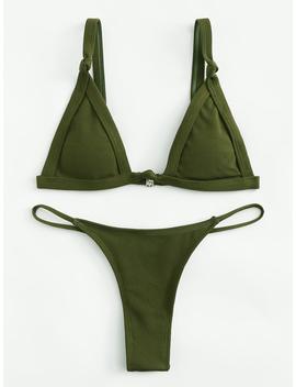 Knot Strap High Leg Bikini Set by Romwe