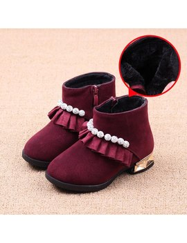 Autumn And Winter Thick Warm Plush Fashion Wine Red Short Paragraph Snow Boots Girls Shoes Children Girls Martin Boots Kids by Ali Express