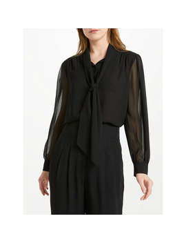 Somerset By Alice Temperley Tie Pleat Sleeve Blouse, Black, Black by Somerset By Alice Temperley