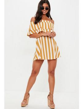 Mustard Overlay Stripe Frill Bardot Skater Dress by Missguided