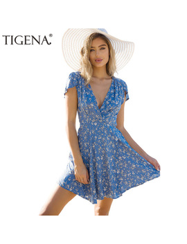 Tigena Floral Deep V Neck Wrap Summer Dress Women 2018 Summer Sundress Casual Tunic Beach Dress Shirt Short Sexy Robe Femme by Tigena