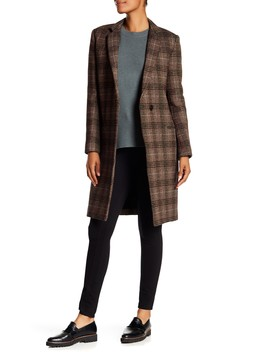 Essentail Multi Plaid Wool Blend Coat by Theory