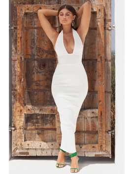 Long Way To Go Plunge Ribbed Bandage Maxi Dress In White by Oh Polly