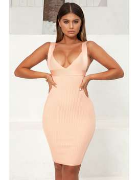 Fit The Bill Bandage Midi Dress In Peach by Oh Polly