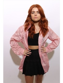 Vintage 1990's 90's Pastel Pink Windbreaker Hood Jacket L Xl by Breathing Time Machine
