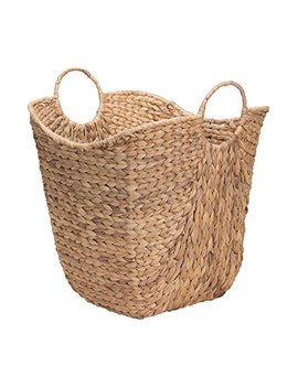 Household Essentials Ml 4002 Tall Water Hyacinth Wicker Basket With Handles | Natural by Household Essentials