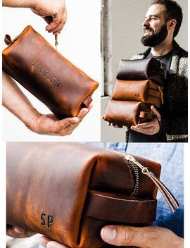 Huge Sale 50 Percents Off... Dopp Kit Bag Groomsmen Gift Leather Toiletry Bag With Monogram Mens Toiletry Bag Leather Custom Dopp Kit Portland by Portland Leather
