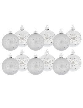 Silver Snowflake Striped Ball Ornaments by Hobby Lobby