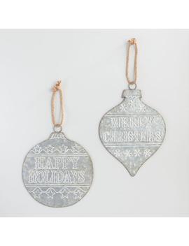 Oversized Retro Galvanized Metal Ornament Decor Set Of 2 by World Market