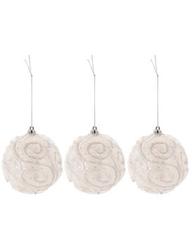 White Swirl Ball Ornaments by Hobby Lobby