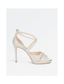 Lorina 100 Glitter Leather And Satin Heeled Sandals by Jimmy Choo