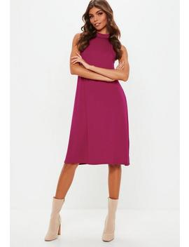 Tall Plum High Neck Jersey Racer Swing Dress by Missguided