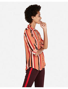 Slim Fit Stripe Ruffle Collar Portofino Shirt by Express
