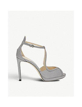 Fawne 100 Glitter Leather Heeled Sandals by Jimmy Choo