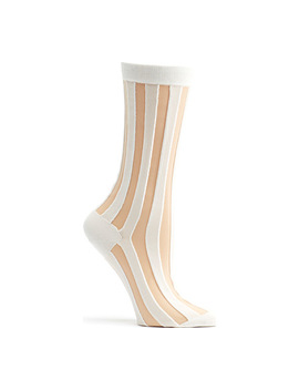 Sheer Pinstripe Crew Socks by Ozone