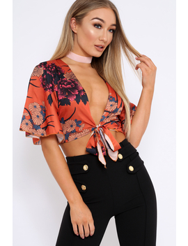 Rust Floral Print Satin Tie Crop Top   Kynslee by Rebellious Fashion