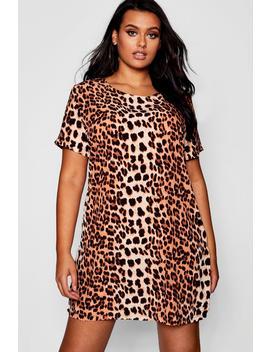 Plus Animal Printed Shift Dress by Boohoo