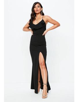 Tall Black Frill Detail Plunge Neck Maxi Dress by Missguided