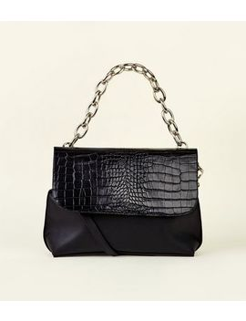 Black Faux Crocodile Chunky Chain Cross Body Bag by New Look
