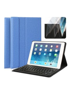 """I Pad Keyboard Case, Multi Angle Viewing Fabric Folio Stand Cover Case With Removable Wireless Bluetooth Keyboard For Apple I Pad Air 1 / I Pad Air 2 / I Pad Pro 9.7 Inch & I Pad 9.7"""" 2017 by Coasta Cloud"""