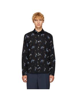 Black Floral Urban Slim Shirt by Kenzo
