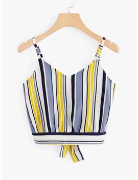 Tie Back Striped Crop Cami Top by Shein