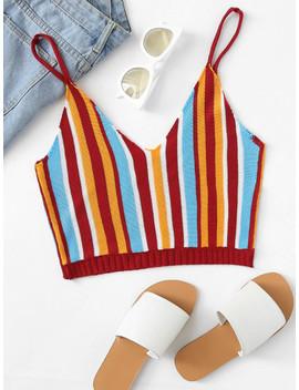 SheinStriped Knit Crop Cami Top by Shein