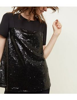 Black Chiffon Yoke Sequin T Shirt by New Look