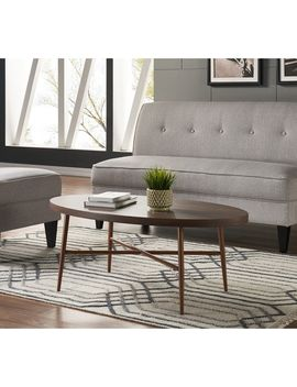Handy Living Miami Brown Oval Coffee Table With Brown Metal Legs by Handy Living