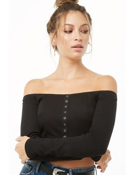 Mock Button Off The Shoulder Crop Top by Forever 21