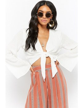Crinkled Tie Front Crop Top by Forever 21