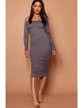 Long Sleeve Bardot Midi Dress In Jumbo Rib by Boohoo