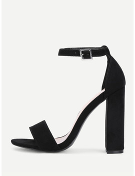 Two Part Ankle Strap Block Heeled Pumps by Shein