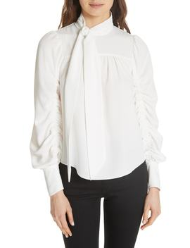 kineta-tie-neck-blouse by joie