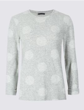 Spotted Round Neck Long Sleeve Top by Marks & Spencer