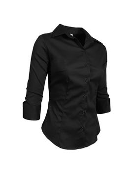 Ne People Roll Up 3/4 Sleeve Button Down Shirt With Stretch by Generic