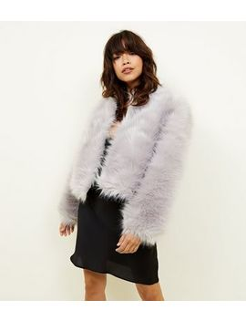 Pale Grey Faux Fur Cropped Collarless Jacket by New Look