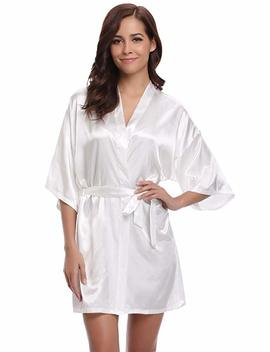 Aibrou Women's Kimono Robes Satin Pure Colour Short Style With Oblique V Neck Robe by Amazon