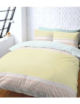 Multi Colour Tile Print Double Cotton Duvet by New Look
