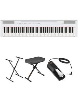 P 125 88 Note Digital Piano And Essentials Kit (White) by Yamaha