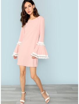 Tassel Trim Bell Sleeve Dress by Shein
