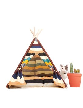 Little Dove Pet Teepee Dog(Puppy) & Cat Bed   Portable Pet Tents & Houses For Dog(Puppy) & Cat Colorful Style 24 Inch (With Or Without Optional Cushion) by Little Dove