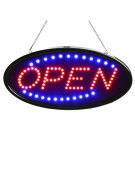 Neon Sign Open, Ag Ptek 19x10inch Led Business Open Sign Advertisement Board Electric Display Sign, Two Modes Flashing & Steady Light, For Business, Walls, Window, Shop, Bar, Hotel by Agptek