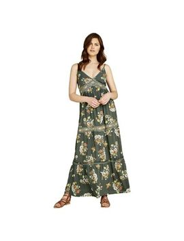 Apricot   Khaki Floral Embroidery Maxi Dress by Apricot