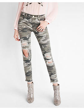 Mid Rise Destroyed Camo Stretch Ankle Pant by Express