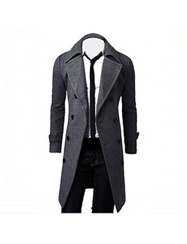 Hiroo Parka Uomo Cappotto Lungo Inverno Trench Coat Doppio Breasted Giacca Jacket Slim Fit Outwear Elegante Giubbotti by Hiroo