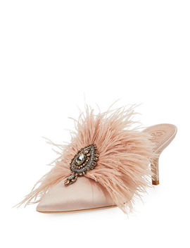 Elodie Feather Embellished Satin Mule by Tory Burch