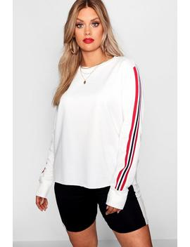 Plus Lilly Female Tape Side Cropped Sweat by Boohoo